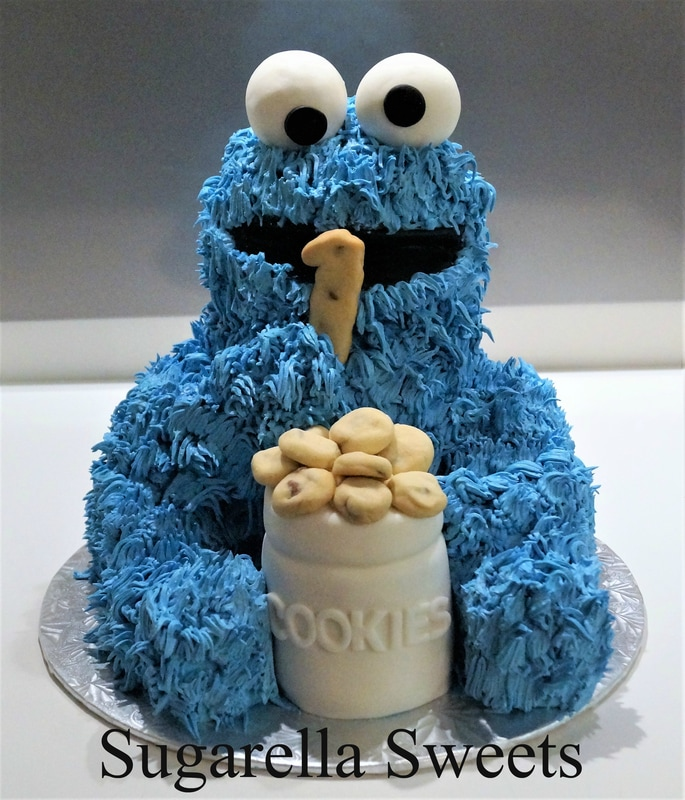 3D Cookie monster cake