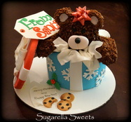 teddy bear gift box cake